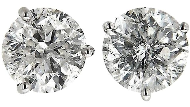 Item - H/I2 Diamond Stud Brilliant Cut Natural.93tcw H/I2 14k White Gold Made In Us Earrings