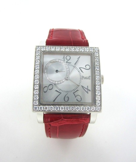 Piaget PIAGET 18KT WHITE GOLD DIAMOND WATCH ALTIPLANO SQUARE ULTRA THIN LADIES LEATHER