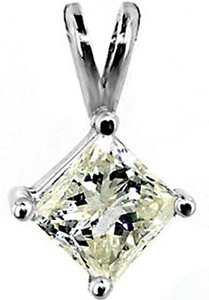 ABC Jewelry Diamond Pendant Princess Cut Not Enhanced .60TCW L/Si1 14k White Gold Made In US