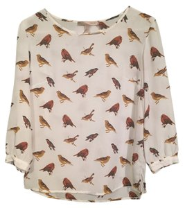 Forever 21 Top White/Bird Print