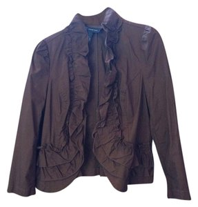 INC International Concepts Ruffles Brown Jacket