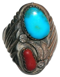 Other Chunky Vintage Southwestern Sterling Silver Fire Agate Cabochon Ring