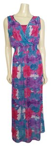 multi-colored mulberry, purple, pink, white and shades of turquoise Maxi Dress by Laundry by Shelli Segal