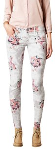 American Eagle Outfitters White Grey Flower Jeggings-Light Wash