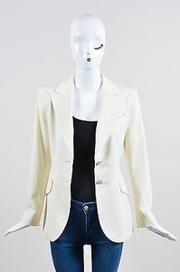 Escada Escada Cream Wool Long Sleeve Blazer Jacket