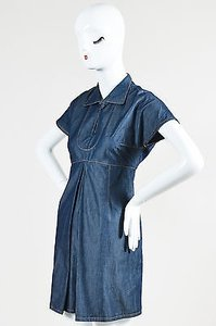Carven short dress Blue Denim Keyhole on Tradesy