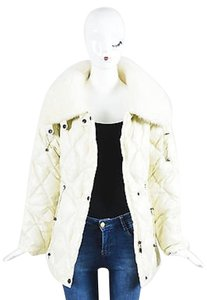 Max Mara Cream Fur Collar Coat