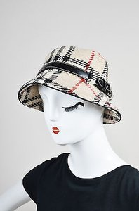 Burberry Burberry London Tan Red Black Wool Check Leather Belt Bucket Hat