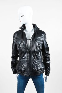 Burberry Leather Cargo Black Jacket