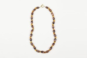 Joseph Murray 18k Gold Citrine Brown Glass Beaded Toggle Necklace