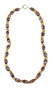Other Joseph Murray 18k Gold Citrine Brown Glass Beaded Toggle Necklace
