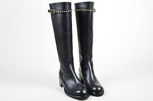 Gucci Leather Stud Strap Knee High Irene Heels Black Boots