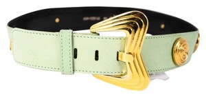 Escada * ESCADA Light Green Suede Gold Swirl Detail Notch Belt Sz EUR 38