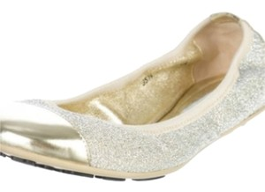 Jimmy Choo Silver with gold toe Flats