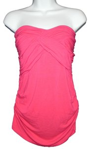 Marciano Knit Strapless Ruched Top Pink