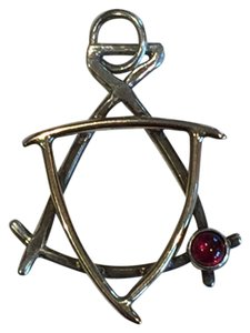 Unique Artisan Sterling Silver, 14k Gold, Garnet, Jewish Star of David Pendant