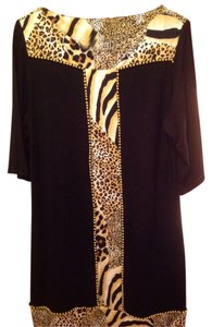 Joyous & Free short dress Black. With leopard trim on Tradesy
