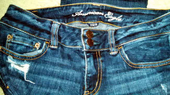 American Eagle Outfitters Stretch Distressed Medium Slim Straight Leg Jeans-Distressed