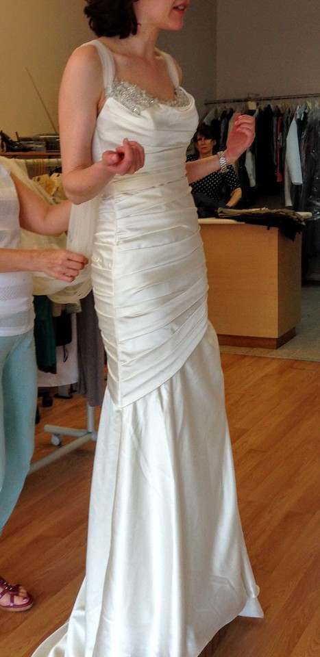 Davids bridal ivory satin trumpet style vintage wedding dress davids bridal ivory satin trumpet style vintage wedding dress size 2 xs tradesy junglespirit Image collections