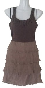 Twelve by Twelve Los Angeles short dress Taupe Brown Cross Back Studs Embellished Layered Ruffles Ruffled on Tradesy