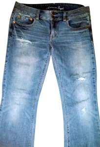 American Eagle Outfitters Stretch Denim Distressed Straight Leg Jeans-Distressed