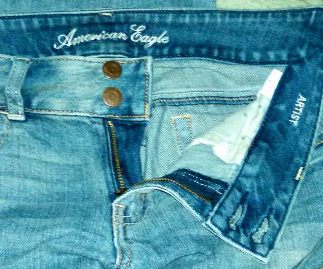 American Eagle Outfitters Stretch Denim Distressed Artist Slim Straight Leg Jeans-Distressed