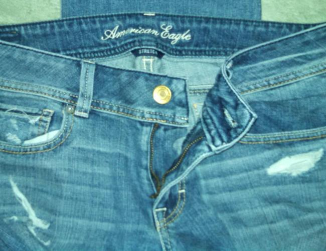 American Eagle Outfitters Stretch Denim Distressed Slim Boot Cut Jeans-Medium Wash