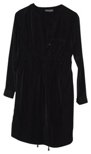 A Pea In The Pod Maternity Dress Black with Muted Bronze Button Details