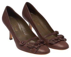 Valentino Leather Mary Janes Brown Pumps