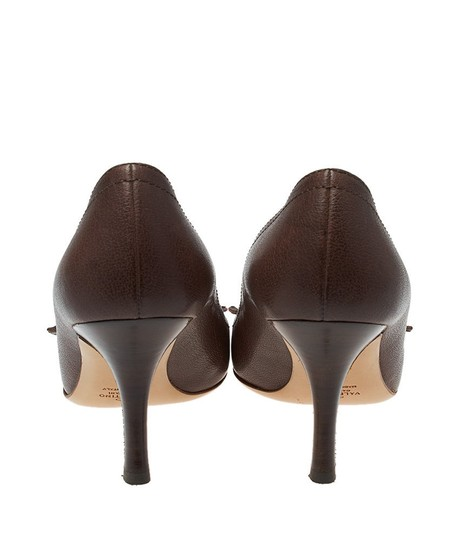 Valentino Leather Mary Janes Floral Heels Brown Pumps