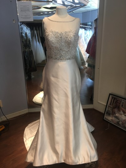 David Tutera for Mon Cheri Cafe Hand Beaded Embroidery Tulle and Satin Peggy Formal Wedding Dress Size 6 (S)