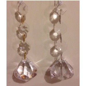 Clear 12 Gold Crystal Hanging Bling Rhinestone Diamond Decor For Centerpiece