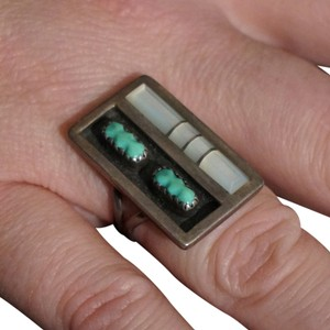 F. Panteah Vintage Panteah Zuni Sterling Silver Turquoise Mother of Pearl Ring
