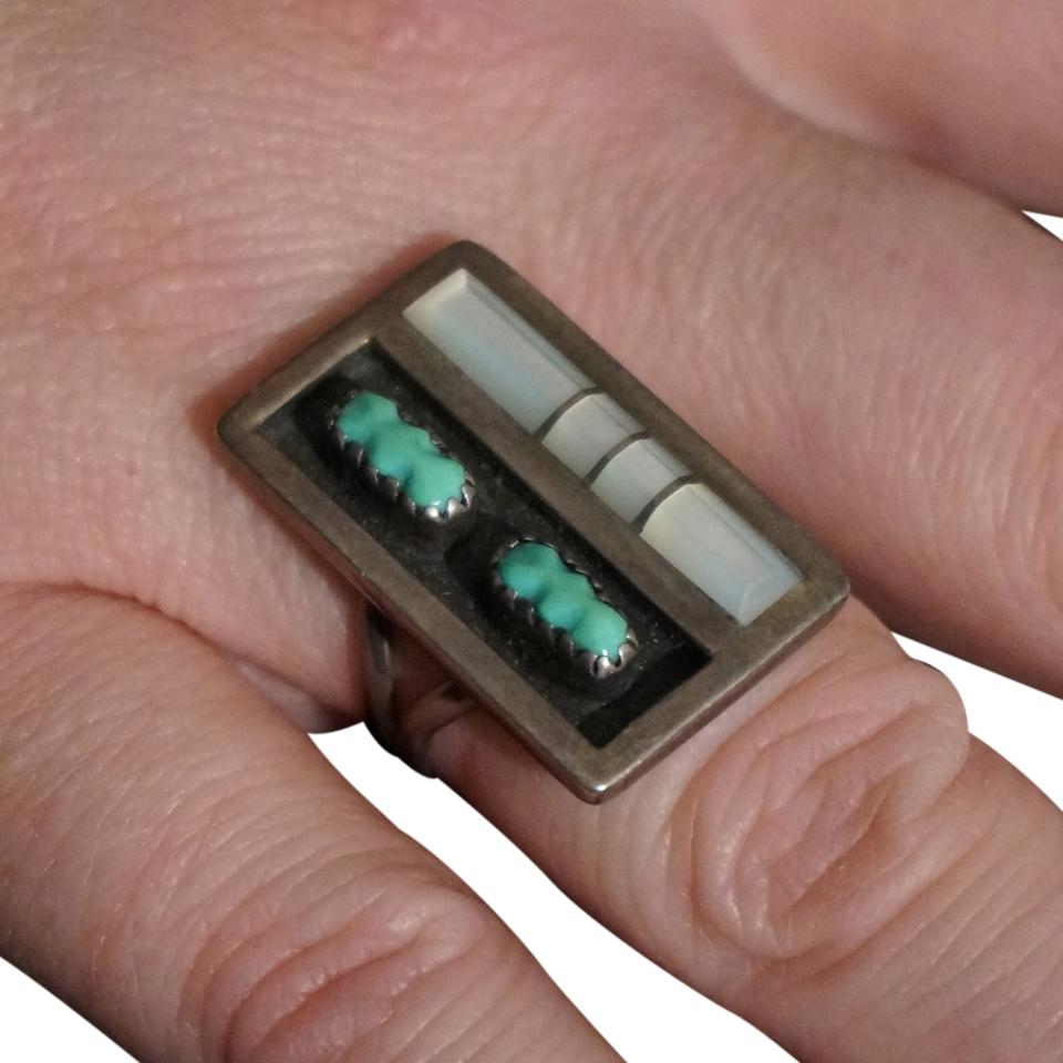 F Panteah Vintage Panteah Zuni Sterling Silver Turquoise Mother Of Pearl  Ring