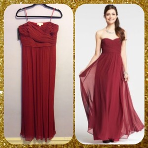 Ann Taylor Cranberry Red Silk Georgette Shirred Strapless Gown Dress