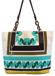 MILLY Canvas & Leather Tote in teal and ivory