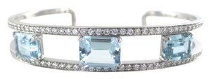l&p 18KT Solid White Gold Bracelet Open Bangle with Aquamarine & Diamonds