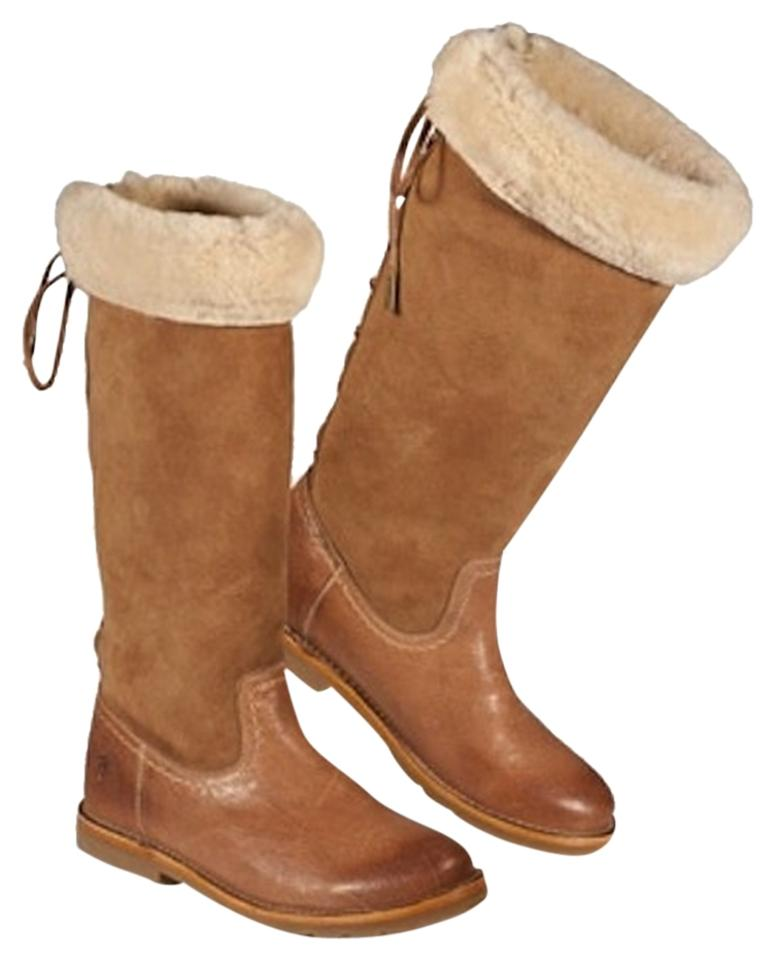 Frye Brown Suede /Chestnut Celia Shearling Tan Suede Brown Leather Riding Western Cowboy Ski Boots/Booties 9a7781