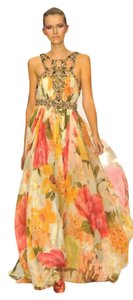 Jenny Packham Couture Beaded Silk Floral Full Length Dress