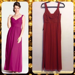 Ann Taylor Cranberry Red Silk Georgette V-neck Strapless Gown Dress