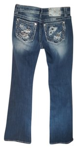 Miss Me 30 Waist And 34 Inseam Boot Cut Jeans-Medium Wash