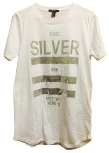 Forever 21 T Shirt White/Silver