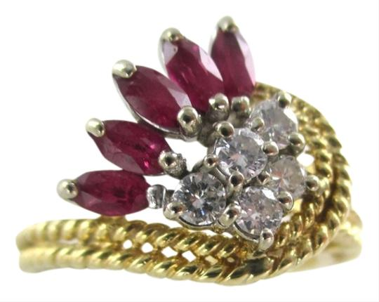 Other 14K Solid Yellow Gold Cable Ring with Diamonds & Rubies