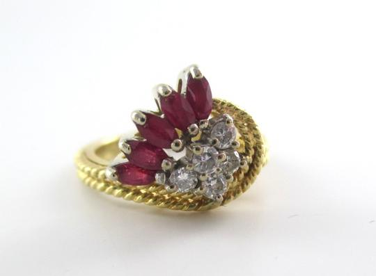 Other 14K Solid Yellow Gold Cable Ring with Diamonds & Rubies Image 1
