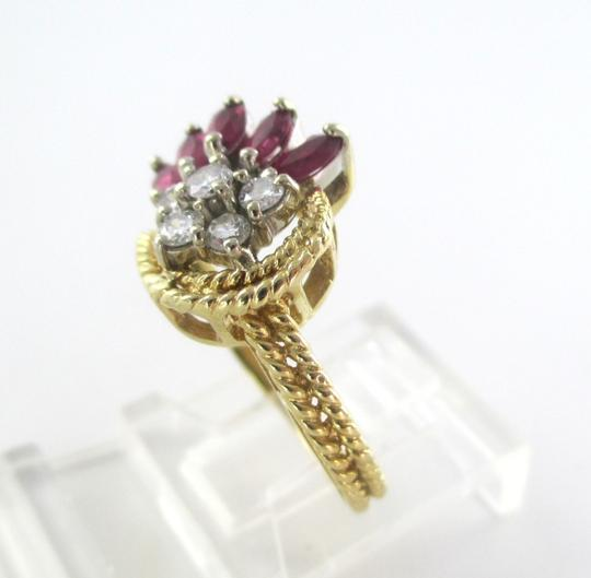 Other 14K Solid Yellow Gold Cable Ring with Diamonds & Rubies Image 2