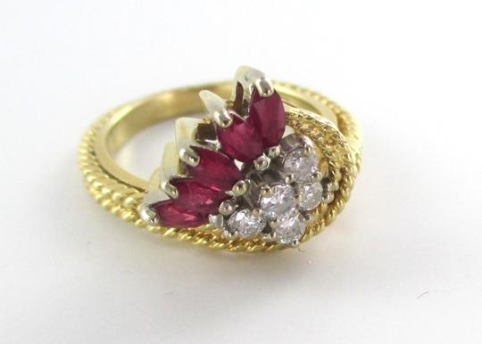 Other 14K Solid Yellow Gold Cable Ring with Diamonds & Rubies Image 3