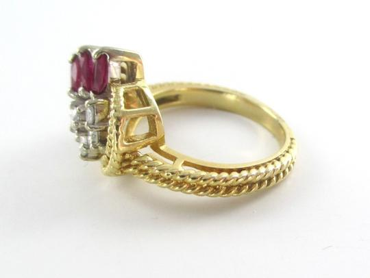 Other 14K Solid Yellow Gold Cable Ring with Diamonds & Rubies Image 4