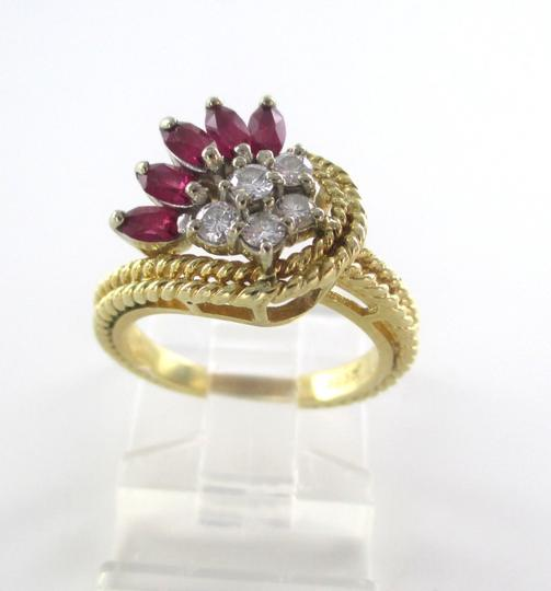 Other 14K Solid Yellow Gold Cable Ring with Diamonds & Rubies Image 5