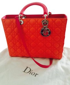 Dior Christian Lady Handbag Cd Satchel in Red/Orange