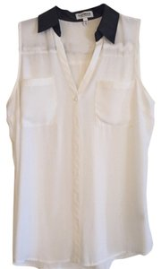 Express Faux Leather Top White & Black